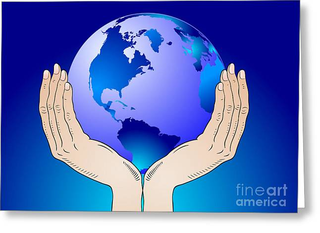Earth In The Your Hands Greeting Card by Michal Boubin