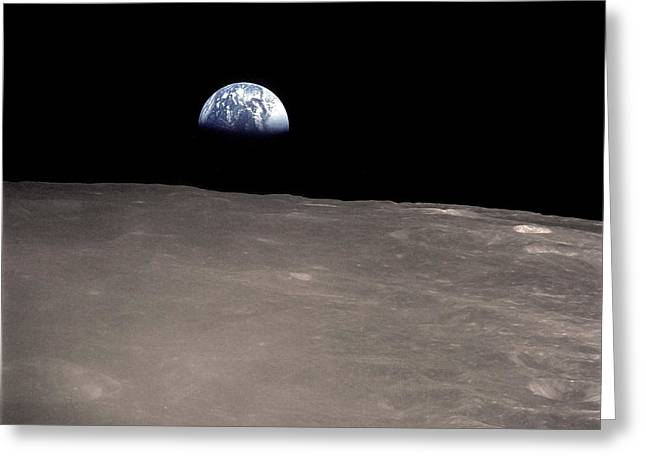 Earth Rising Above The Moons Horizon Greeting Card