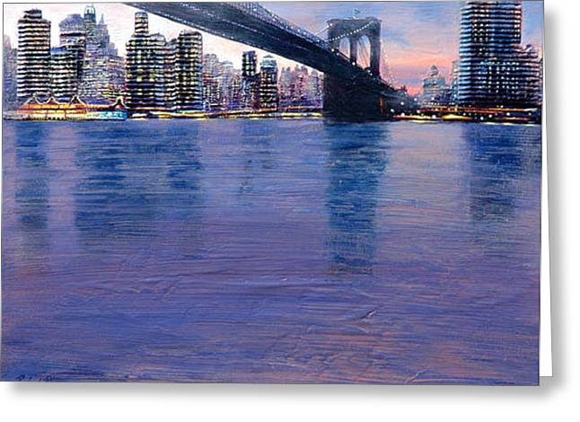 East River Greeting Card by Rafael Plaza