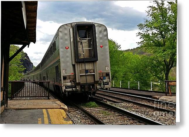 Eastbound Capitol Limited At Harpers Ferry Greeting Card by Ben Schumin
