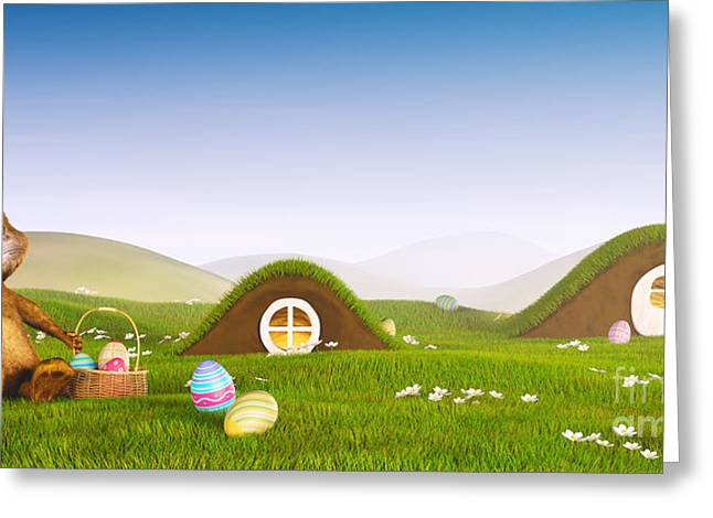 Easter Bunny With A Basket And Easter Eggs Greeting Card