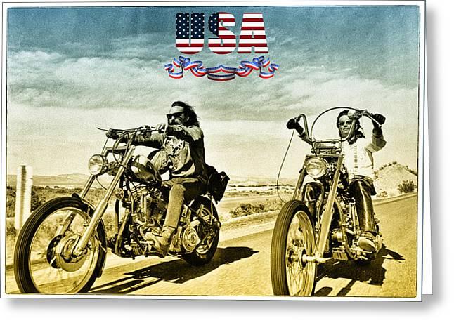 Easy Rider Greeting Card by Hans Wolfgang Muller Leg