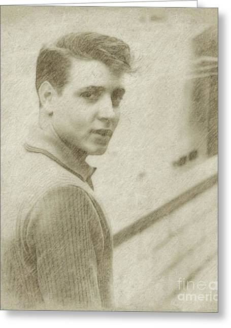 Eddie Cochran Vintage Singer Greeting Card by Frank Falcon