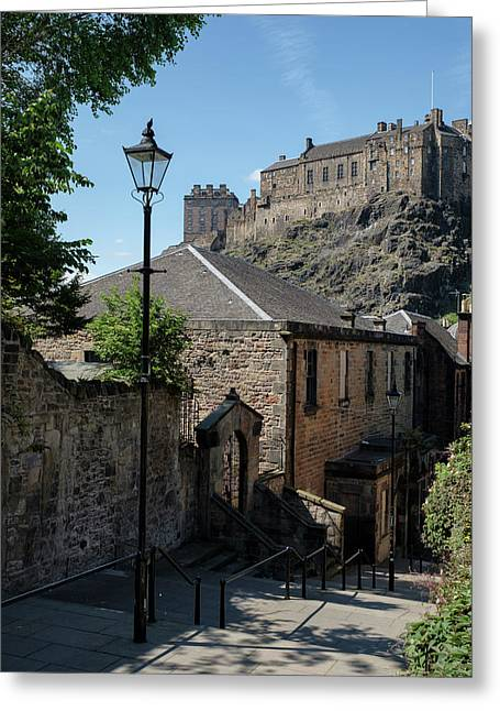 Greeting Card featuring the photograph Edinburgh Castle In Scotland by Jeremy Lavender Photography