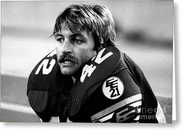Greeting Card featuring the photograph Edmonton Eskimos Football - Dan Kepley 1981 by Terry Elniski