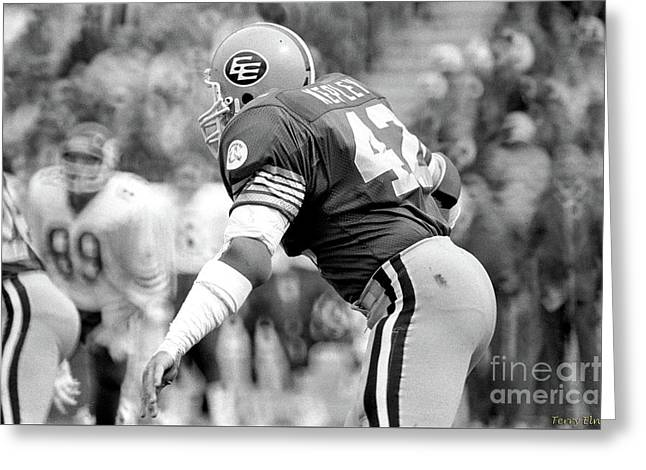 Greeting Card featuring the photograph Edmonton Eskimos Football - Dan Kepley 1982 by Terry Elniski