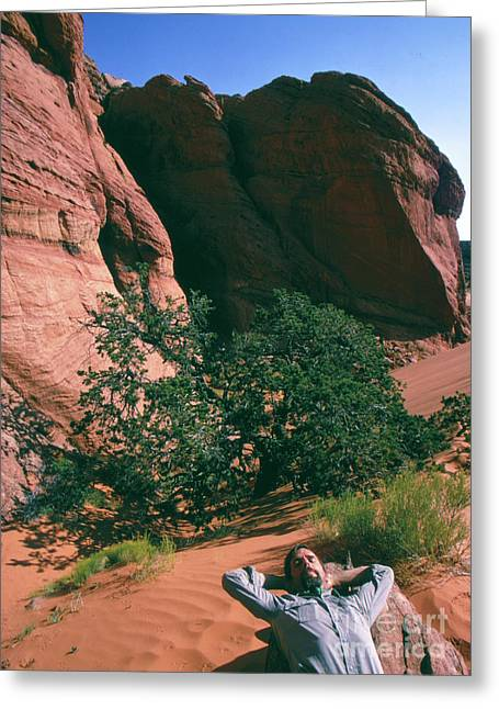 Edward Abbey, Author Of Desert Solitaire, Shown Here In The Dese Greeting Card