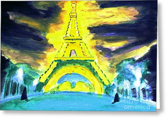 Eiffel Tower Night Optical Illusion Greeting Card
