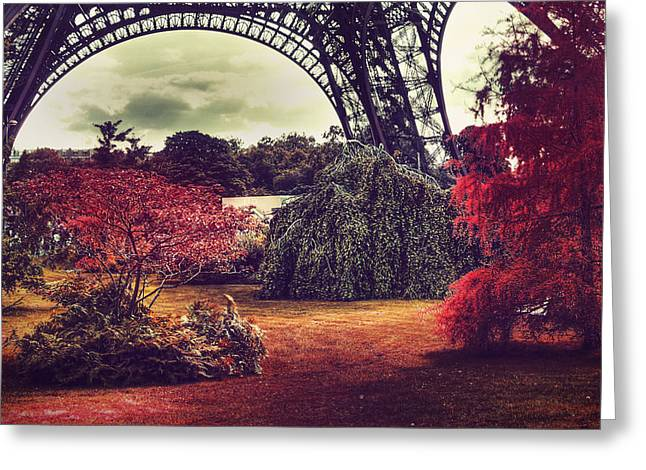 Eiffel Tower Surreal Photo Red Trees Paris France Greeting Card by Sandra Rugina