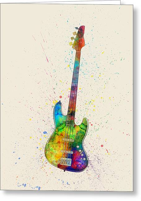 Electric Bass Guitar Abstract Watercolor Greeting Card