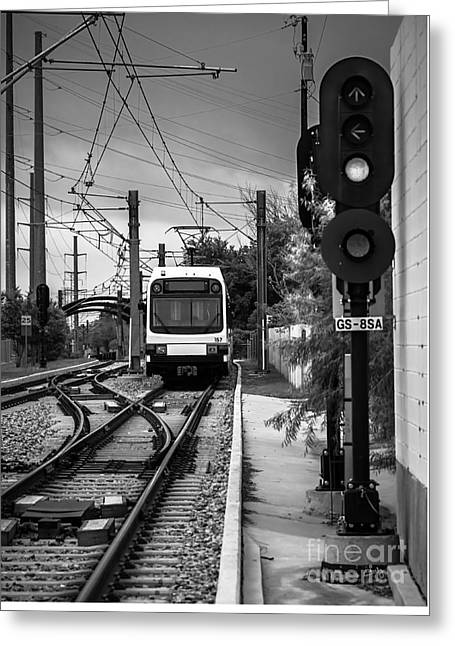 Electric Commuter Train In Bw Greeting Card