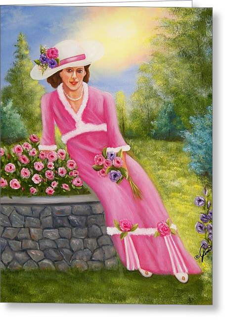 Greeting Card featuring the painting Elegant Lady by Joni McPherson
