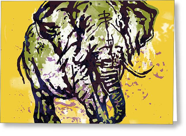Elehpant Pop Art Etching Poster  Greeting Card by Kim Wang