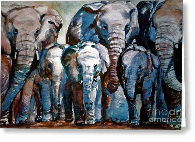 Elephant Family Greeting Card by Joyce A Guariglia