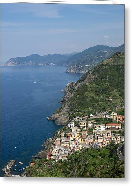 Elevated View Of The Riomaggiore, La Greeting Card by Panoramic Images