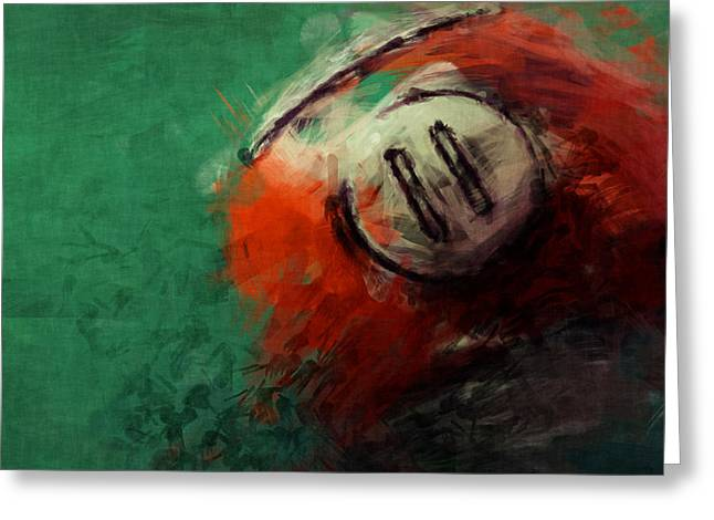 Eleven Ball Billiards Abstract Greeting Card by David G Paul
