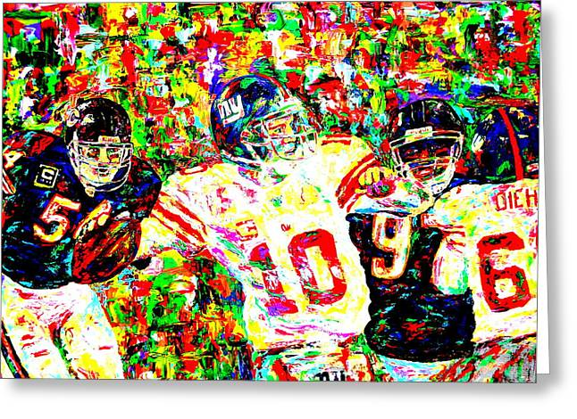 Eli Manning Greeting Card by Mike OBrien