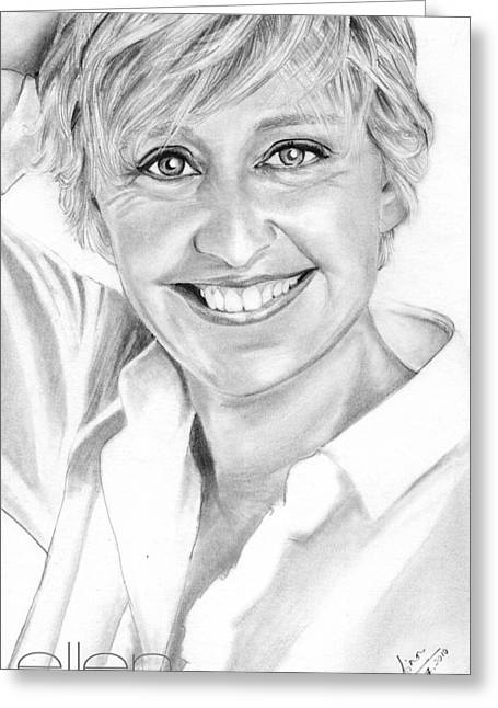 Ellen Degeneres Greeting Card by Shafina Noor