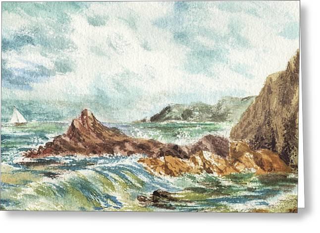 Elongated Seascape Painting Greeting Card by Irina Sztukowski