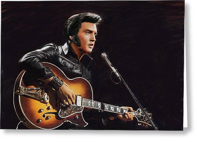 Elvis Presley Greeting Card by Dominique Amendola