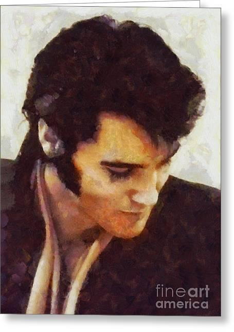 Elvis Presley, Music Legend Greeting Card by Sarah Kirk