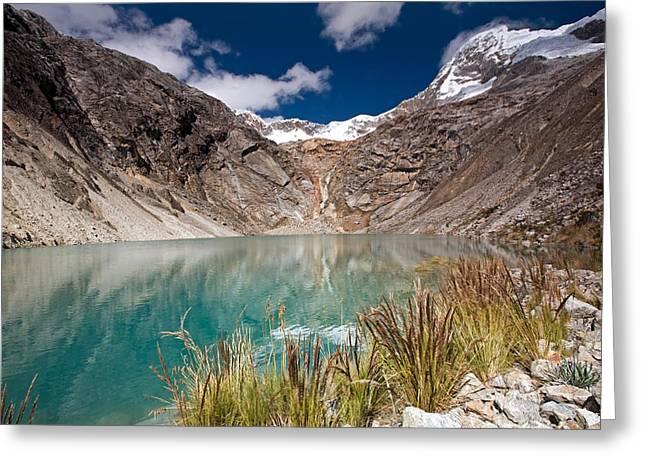 Emerald Green Mountain Lake At 4500m Greeting Card