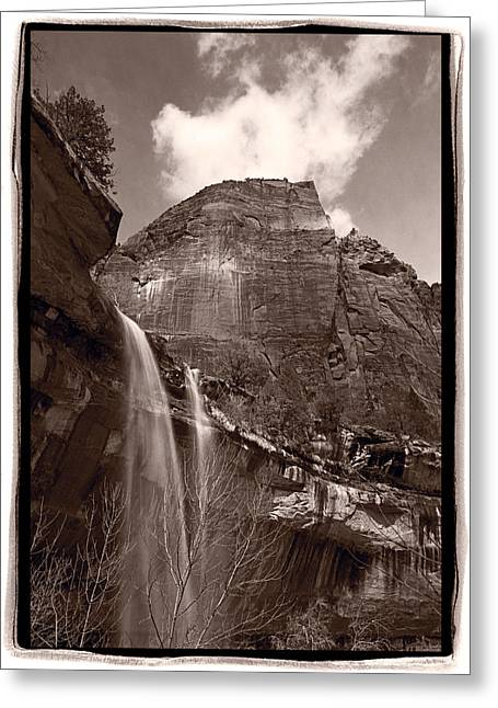 Emerald Pools Falls Zion National Park Greeting Card by Steve Gadomski