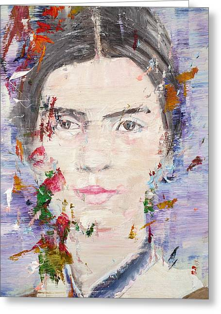 Greeting Card featuring the painting Emily Dickinson - Oil Portrait by Fabrizio Cassetta