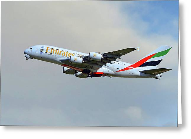 Emirates Airbus A380-861 Greeting Card