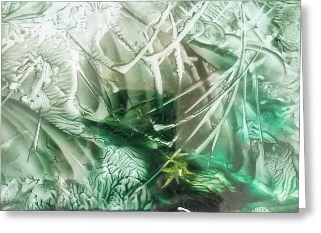Encaustic Abstract Green Foliage Greeting Card