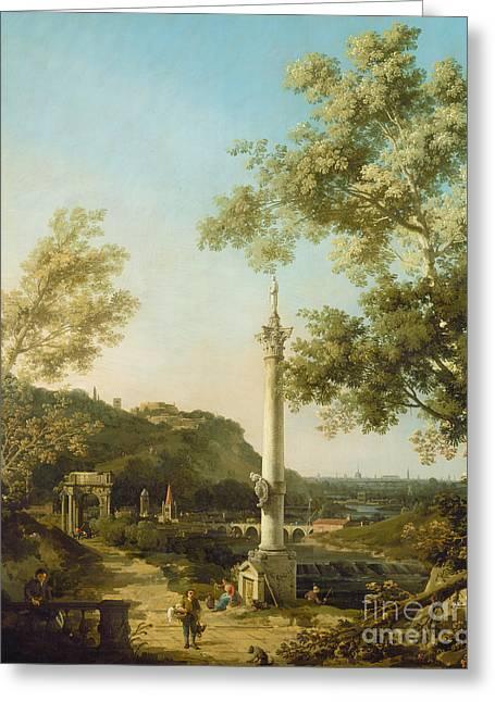 English Landscape Capriccio With A Column Greeting Card