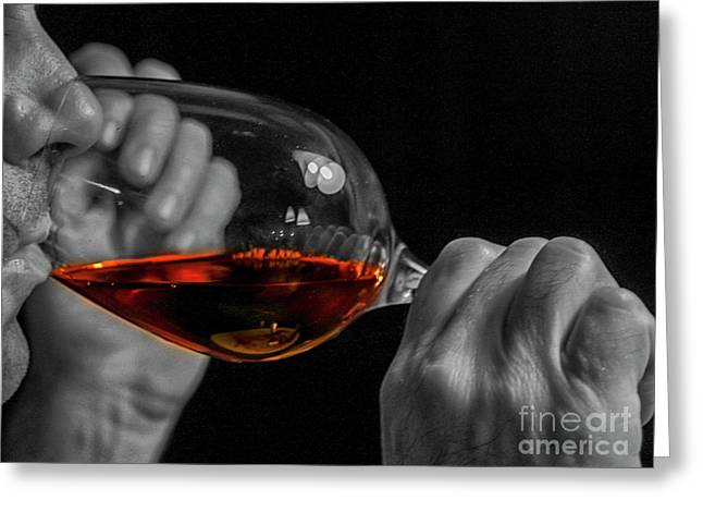 Enjoying Wine Greeting Card by Patricia Hofmeester