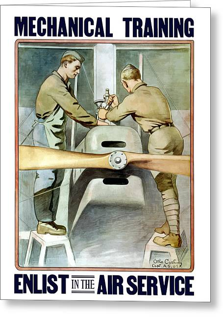 Ww1 Greeting Cards - Enlist In The Air Service Greeting Card by War Is Hell Store