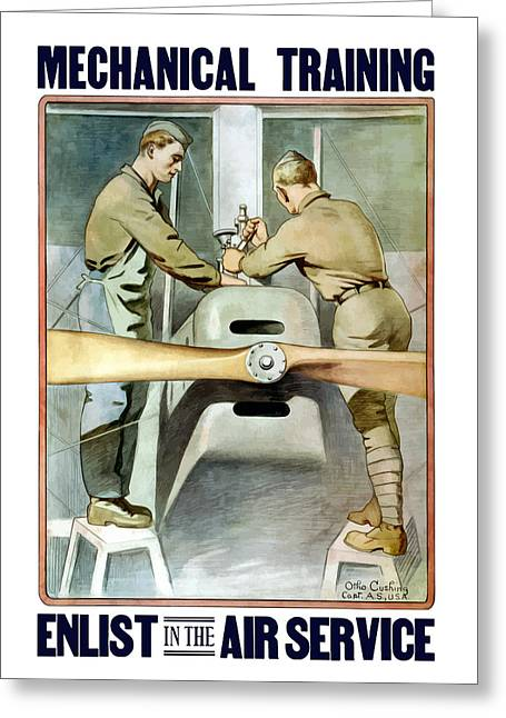 Mechanical Training - Enlist In The Air Service Greeting Card by War Is Hell Store
