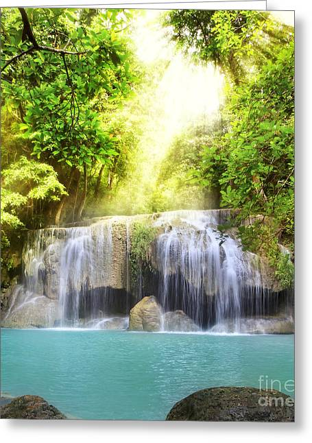 Erawan Waterfall Greeting Card by Anek Suwannaphoom
