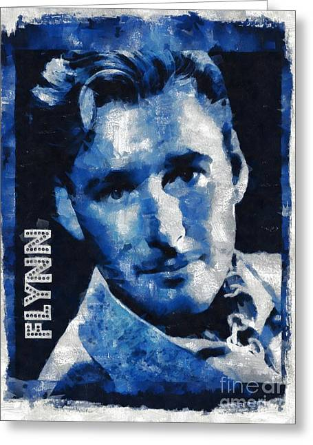 Errol Flynn Vintage Hollywood Actor Greeting Card by Mary Bassett