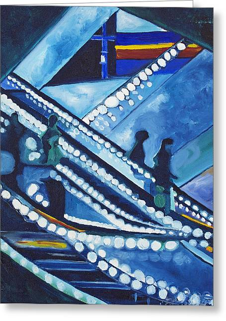 Greeting Card featuring the painting Escalator Lights by Patricia Arroyo
