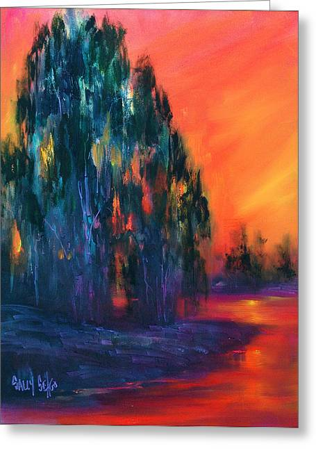 Eucalyptus Sunset Greeting Card by Sally Seago