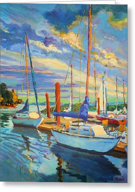 Evening At The Marina Greeting Card by Margaret  Plumb