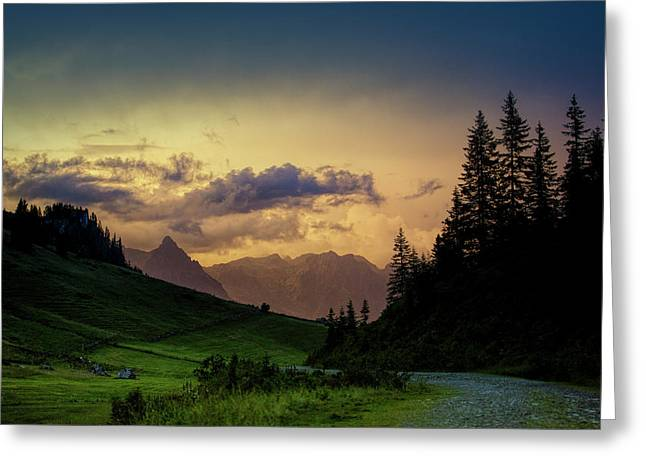 Evening In The Alps Greeting Card