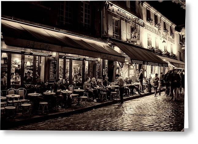 Evening Out - Paris Greeting Card by Gerhard Bogner