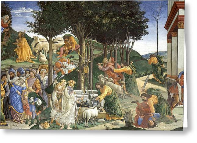 Events In The Life Of Moses Greeting Card by Sandro Botticelli