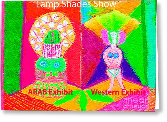 Exhibition Of Lamp Shades Artist View Of Diversity In Lamp Shades From Middle East N Western World Greeting Card