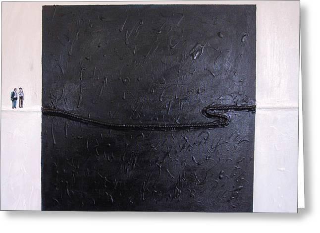 Explaining Modern Art Standing On An Elegant Line Greeting Card by Kevin Callahan