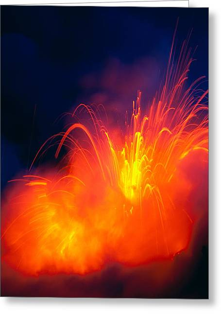 Exploding Lava Greeting Card by Greg Vaughn - Printscapes