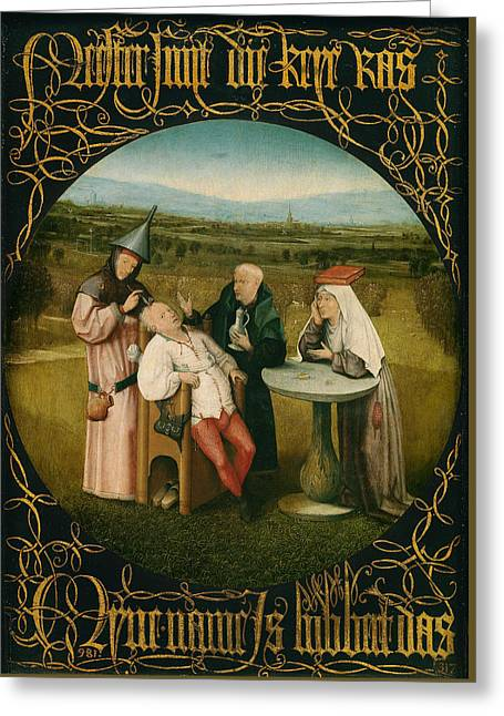 Extracting The Stone Of Madness Greeting Card by Hieronymus Bosch