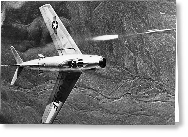 1951 Greeting Cards - F-86 Jet Fighter Plane Greeting Card by Granger