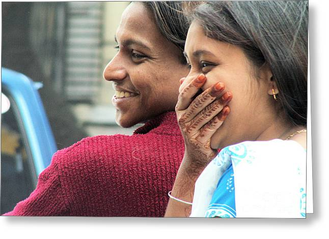 Faces Of India - Happy Couple Greeting Card by Steve Rudolph