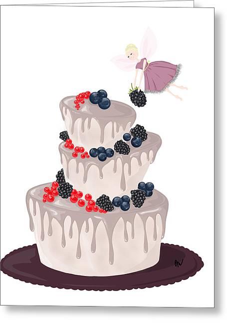 Fairy_berry Cake Greeting Card by Marina Medvedeva