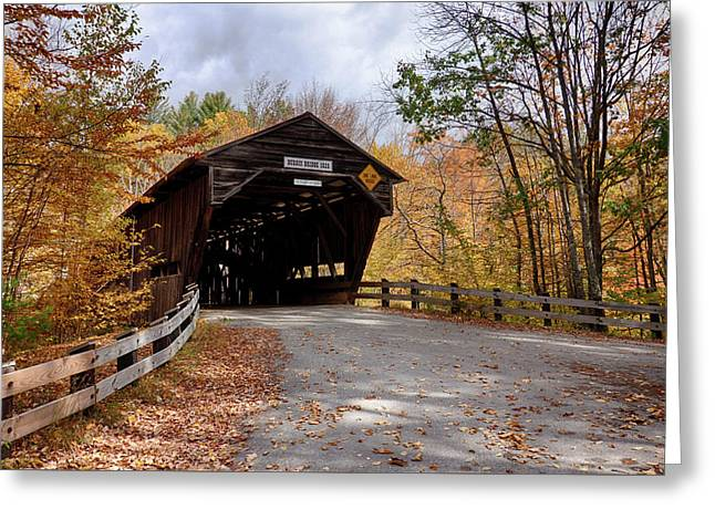 Fall Colors Over The Durgin Covered Bridge Greeting Card by Jeff Folger